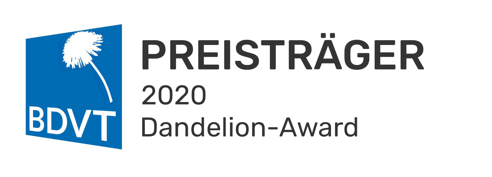 Logo Preistraeger Dandelion Award 2020 v5