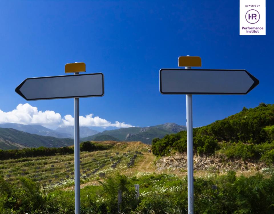 """Bild zum Thema """"Führungsdilemma: delegieren vs. selbst erledigen"""". 2 Wegweiser, die in verschiedene Richtungen zeigen"""